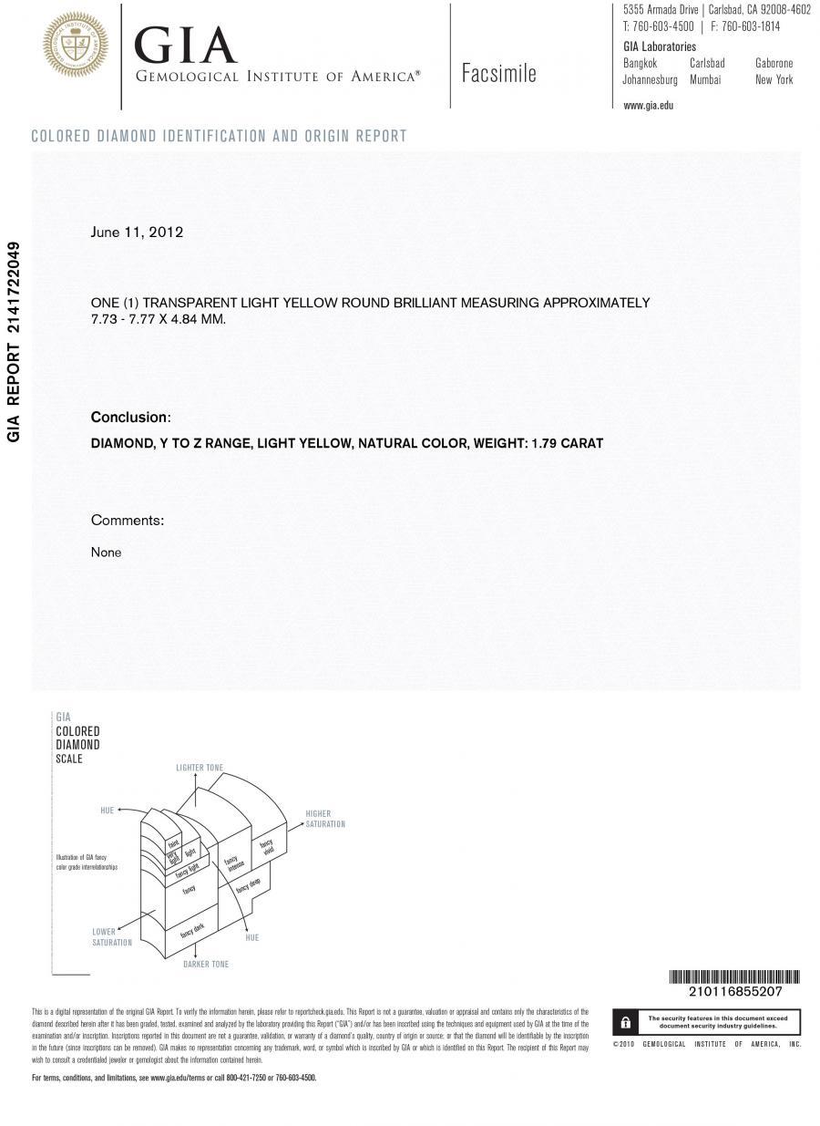 Yellow Diamond Natural Light 179ct Round Cut Gia Certified